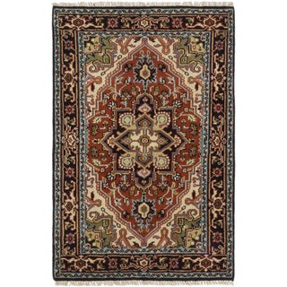 ecarpetgallery Royal Heriz Brown Wool Rug (4' x 6')