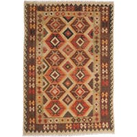 ecarpetgallery Sivas Brown, Green Wool Kilim - 5' x 8'