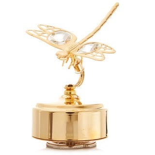 Matashi 24K Gold-plated Music Box Dragonfly Variations Made With Genuine Matashi Crystals