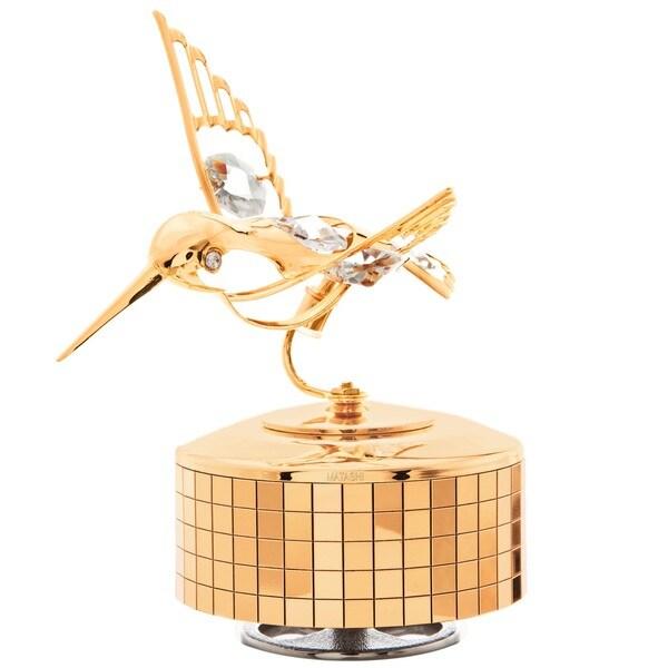Matashi 24K Gold or Silver Plated Music Box Ballerina Variations Made with Genuine Matashi Crystals