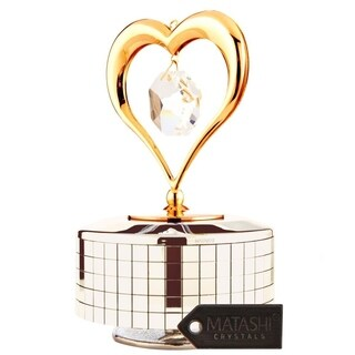 Matashi 24K Gold or Silver Plated Music Box Ballerina Variations Made with Genuine Matashi Crystals