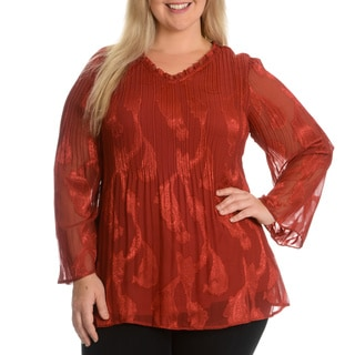 Sunny Leigh Women's Plus Size Crinkle Paisley Printed Top