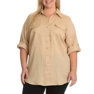 Sunny Leigh Women's Plus Size Linen Shirt