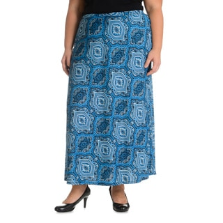 Sunny Leigh Women's Plus Size Moroccan Printed Skirt