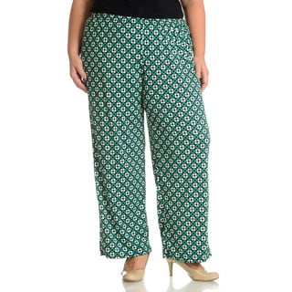 Sunny Leigh Women's Plus Size Geometric Square Printed Pant