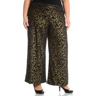 Sunny Leigh Women's Plus Size Brocade Printed Pant (Option: Gold)