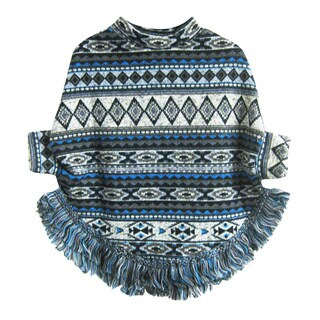 Kids' Tribal Design Poncho with Fringe