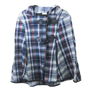 Plaid Design Kids' Poncho with Hoodie (2 options available)
