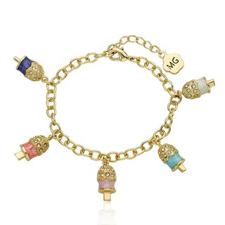 Molly Glitz 14k Goldplated 5 Crystal Popsicle Charm Bracelet