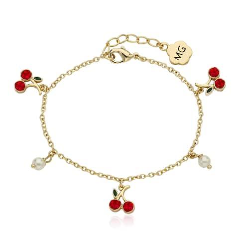 Molly Glitz 14k Goldplated Cherries and Fresh Water Pearl Bracelet
