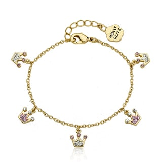 Molly Glitz 14k Goldplated Crystal Crown Charm Bracelet