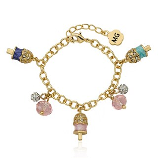 Molly Glitz 14k Goldplated Crystal Enamel Popsicle Charm Bracelet