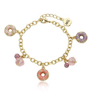Molly Glitz 14k Goldplated Crystal Enamel Donuts Charm Bracelet|https://ak1.ostkcdn.com/images/products/10703594/P17763911.jpg?impolicy=medium