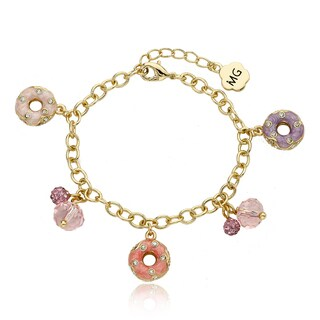 Molly Glitz 14k Goldplated Crystal Enamel Donuts Charm Bracelet (2 options available)