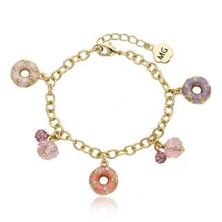 Molly Glitz 14k Goldplated Crystal Enamel Donuts Charm Bracelet