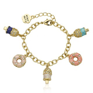 Molly Glitz 14k Goldplated Crystal Enamel Donuts and Popsicle Charm Bracelet
