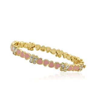 Molly Glitz 14k Goldplated Pink Cut Out Heart Bangle