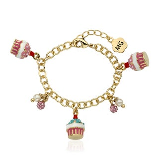 Molly Glitz 14k Goldplated Crystal Cupcakes Charm Bracelet