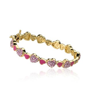 Molly Glitz 14k Goldplated Pink and Hot Pink Hearts Bangle (2 options available)