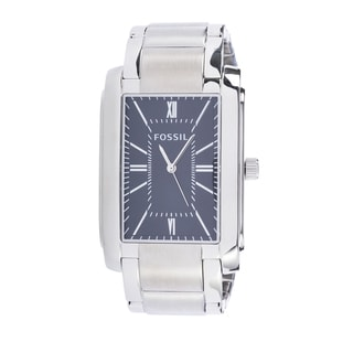Fossil Men's PR5424 Analog Rectangle Black Dial Silver-Tone Stainless Steel Bracelet Watch