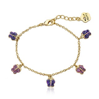 Molly Glitz 14k Goldplated Crytsal Butterflies Bracelet
