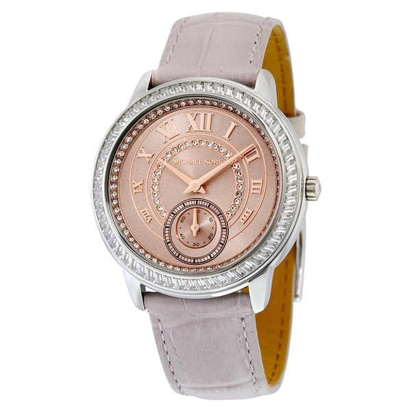 5a4ccb62457d Shop Michael Kors Women s Madelyn Diamond Rose-Tone Dial Grey Leather Watch  - Free Shipping Today - Overstock - 10703822