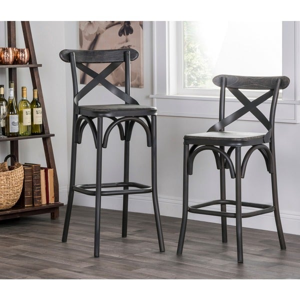 Kosas Home Dixon Rustic Stony Grey Bar Stool Free