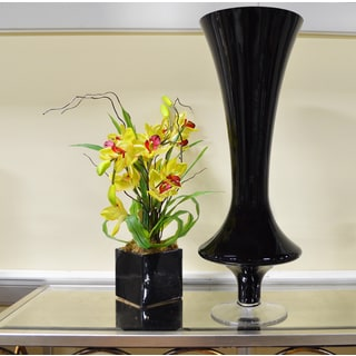 Black Pedestal Glass Vase