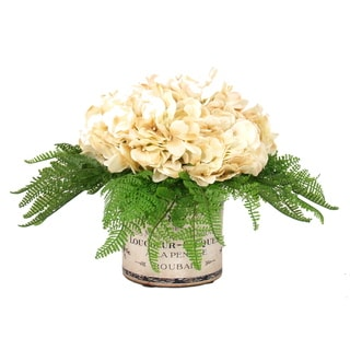 Cream Hydrangea Bouquet with Ferns in Vintage Labeled Vase