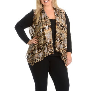 Sunny Leigh Women's Plus Size Open Front Animal Print Cardigan