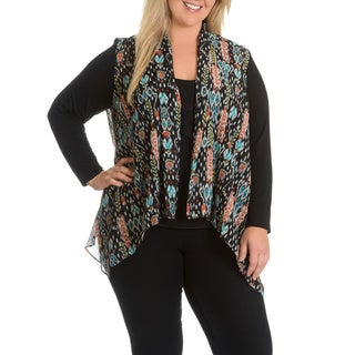 Sunny Leigh Women's Plus Size Open Front Multi Print Cardigan
