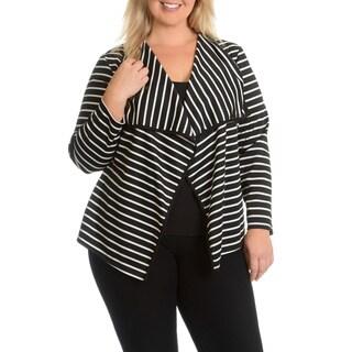 Sunny Leigh Women's Plus Size Stripe Cardigan