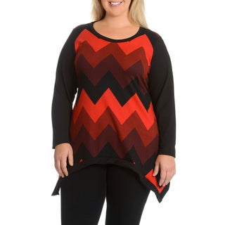 Sunny Taylor Women's Plus Size Zig Zag Stripe Top