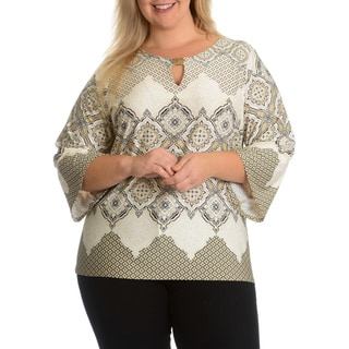 Sunny Leigh Women's Plus Size Brocade Print Cut-Out Top