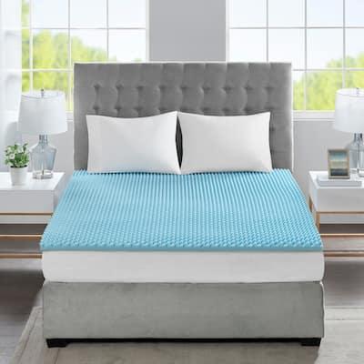 "Sleep Philosophy All Season Reversible Hypoallergenic 1.5"" Cooling Gel Memory Foam Mattress Topper"