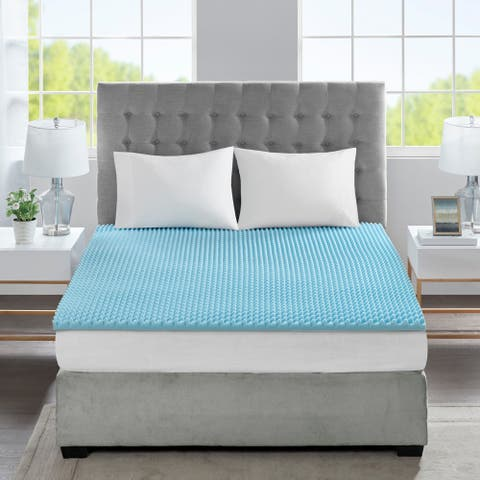 "Flexapedic by Sleep Philosophy All Season Reversible Hypoallergenic 1.5"" Cooling Gel Memory Foam Mattress Topper"
