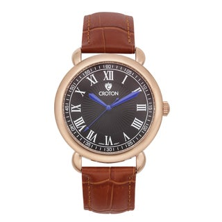 Croton Men's CN307532BRBK Stainless Steel Rosetone Leather Strap Watch