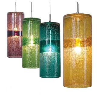 JESCO 1-Light Hand-Blown Color Glass Pendant Kit with Accent Band And Gold Flecks