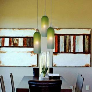 JESCO 1-light Hand-blown Grooved Frosted Glass Mini Pendant Kit