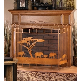 Wild African Fireplace Screen