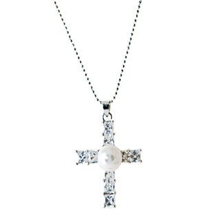 Love Pearl Necklace with 8-9 mm White Freshwater Pearl and Cross Shape Pendant with Cubic Zirconia