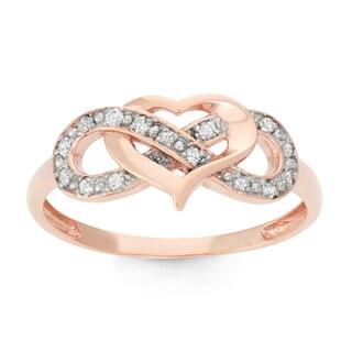 Gioelli 10k Rose Gold .15ct TDW Diamond Heart Ring (I-J/I2)