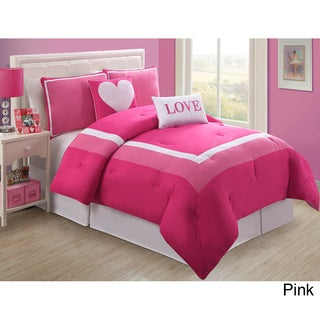 Hotel Juvi 4-piece Comforter Set (Full /Pink) (As Is Item)