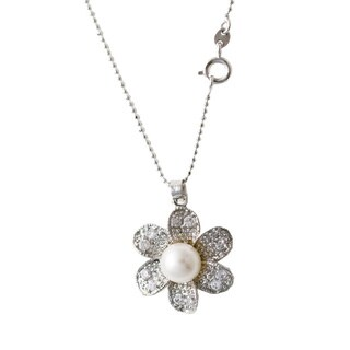 Rhodium-plated White Freshwater Pearl and Cubic Zirconia Wildflower Necklace (8-9 mm)