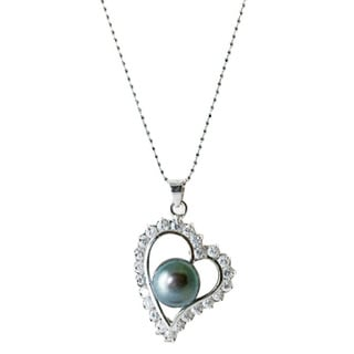 Rhodium-plated Love Black Freshwater Pearl and Heart Cubic Zirconia Fancy Pendant (9-10 mm)