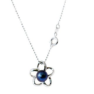 Rhodium-plated Black Freshwater Pearl and Flower Wire Necklace (8-9 mm)