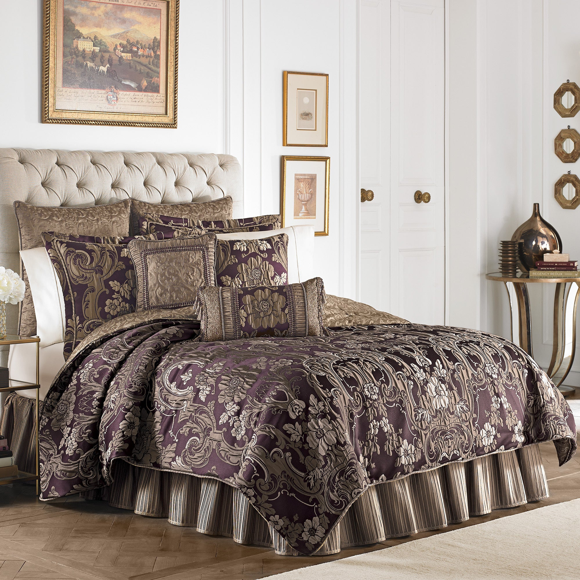 Croscill Everly Plum And Gold 4 Piece Comforter Set Overstock 10704036