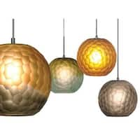 JESCO 1-Light Low Voltage Hand-Blown Chiseled Frosted Spherical Glass Pendant With Canopy