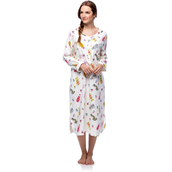 La Cera Women\'s Cotton Flannel Cat Print Nightgown - Free Shipping ...