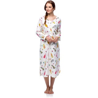 La Cera Women's Cotton Flannel Cat Print Nightgown